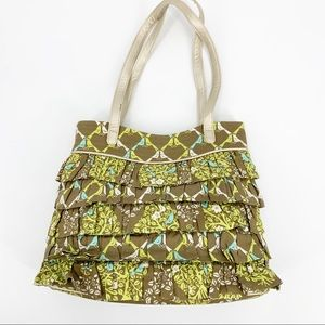 Vera Bradley Tan Green Bird Ruffle Handbag Purse